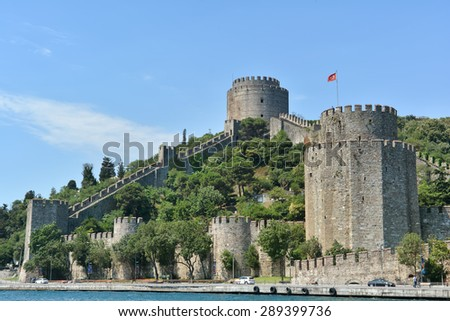 ISTANBUL, TURKEY, JUNE 8, 2013 : Rumeli Hisari (Fortress Of Rumeli), built by the order of Ottoman Sultan Mehmed II between 1451 and 1452, before he conquered Constantinople. - stock photo