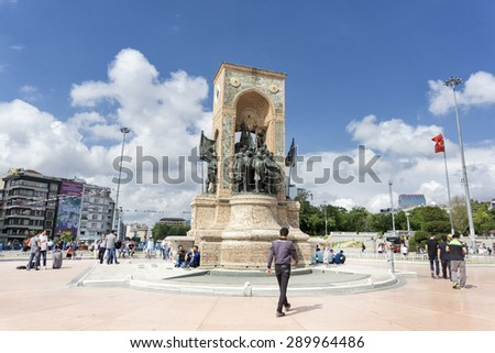 ISTANBUL, TURKEY, JUNE 23, 2015: The Republic Monument at the centre of Taksim Square, a major tourist and leisure district famed for its restaurants, shops, and hotels,considered heart of Istanbul. - stock photo