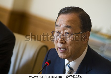 ISTANBUL, TURKEY - JUNE 2: UN Secretary General Ban Ki-moon holds seperate meetings with the press and the government on June 2, 2012 in Istanbul, Turkey.