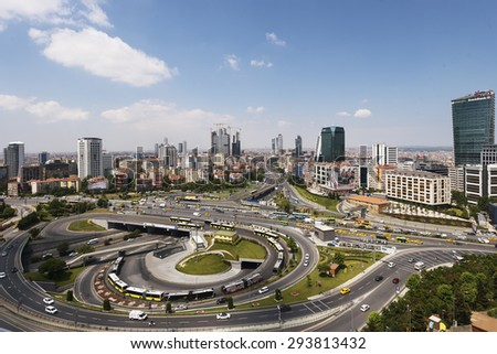 ISTANBUL, TURKEY - JUNE 26 ,2015:Zincirlikuyu District in istanbul. Skyscrapers,mall and residences in Zincirlikuyu, one of the most populated financial districts of Istanbul. - stock photo
