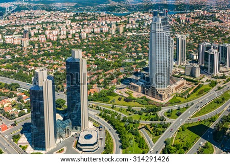 ISTANBUL, TURKEY - JUNE 20: Zincirlikuyu District in istanbul. Skyscrapers,mall and residences in Zincirlikuyu on June 20, 2015 in Istanbul, Turkey - stock photo