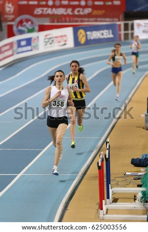 ISTANBUL, TURKEY - MARCH 11, 2017: Athletes running during Indoor Olympic Trial Competitions