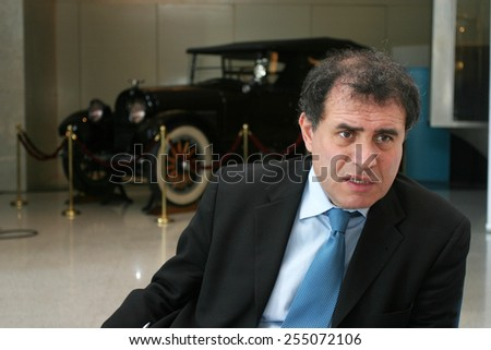ISTANBUL, TURKEY - MARCH 6: Famous American economist Nouriel Roubini portrait on March 6, 2008 in Istanbul, Turkey. He is the chairman of Roubini Global Economics, an economic consultancy firm. - stock photo
