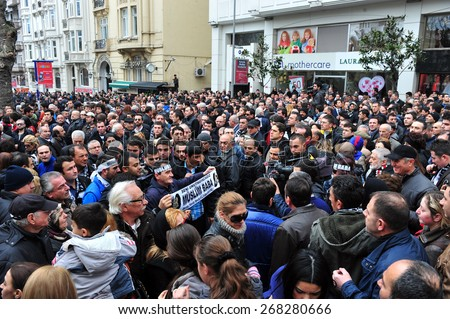 ISTANBUL, TURKEY - MARCH  4:  Famous Turkish musician  Muslum Gurses's funeral on March  4, 2013 in Istanbul, Turkey.