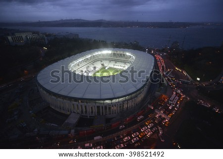 ISTANBUL, TURKEY, 25 March 2016 New stadium of Basiktas football club Vodafone Arena will be open in April 2016. - stock photo