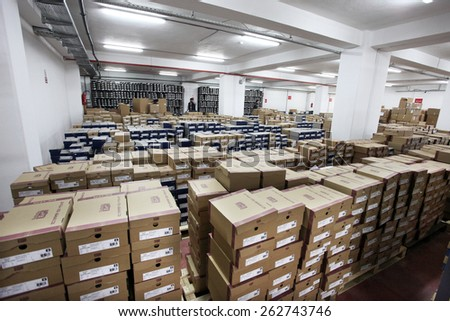 ISTANBUL, TURKEY - MARCH 14: Shopping boxes in large warehouse on March 14, 2011 in Istanbul, Turkey.  - stock photo