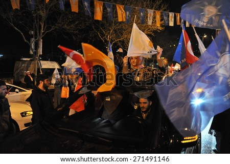 ISTANBUL, TURKEY - MARCH  30 :  Winning local elections the AK Party supporters to celebrate on March 30, 2014