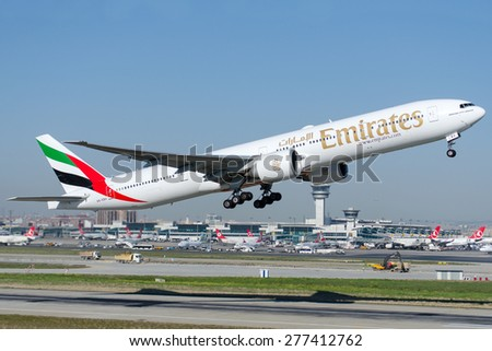 ISTANBUL , TURKEY - May 9 , 2015: Aircraft of Emirates Airlines is taking off from Istanbul Ataturk International Airport on May 9, 2015 . Aircraft is an Boing 737-800 - stock photo