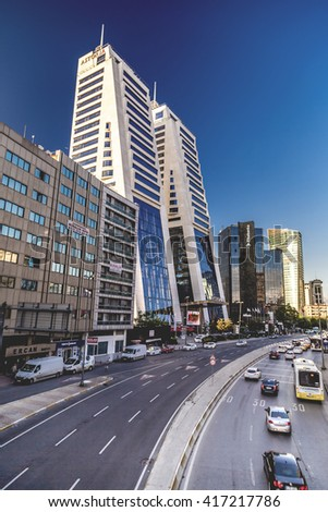 Istanbul, Turkey - May 6, 2016: Astoria Mall and Residence in Esentepe, European side of Istanbul.The area is a business center with towers and interchange stations of transportation, May 6, 2016.