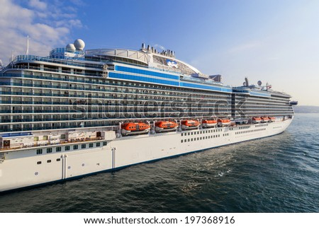 ISTANBUL,TURKEY  MAY 25: Cruise liner Princess is docked  in Port of Istanbul  Turkey on May 25, 2014 in. Close to 150  200 000 vacationers travels  to Istanbul each year by cruise ships alone..