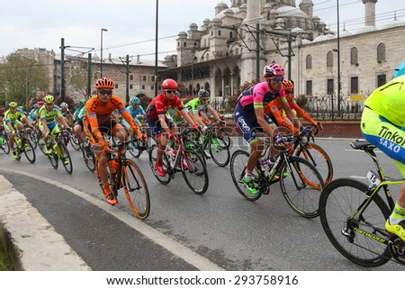 ISTANBUL, TURKEY - MAY 03, 2015: Cyclists in Eminonu district during Istanbul Stage of 51st Presidential Cycling Tour of Turkey.