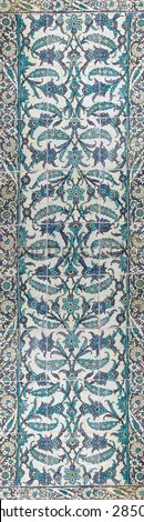 ISTANBUL, TURKEY  - MAY 18, 2014 - Elaborate Iznik mosaic tile work of the Harem  in Topkapi Palace,  in Istanbul, Turkey - stock photo