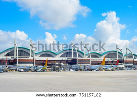 ISTANBUL, TURKEY - MAY 23, 2017: Exterior of the Sabiha Gokcen International Airport (SAW) in Istanbul, Turkey. More than 32 million tourists visit Turkey each year.