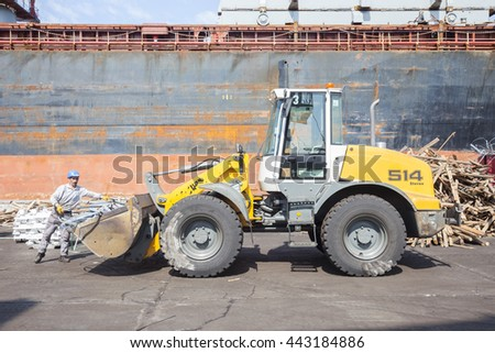 ISTANBUL, TURKEY - MAY 30, 2016: 2015 German Liebherr L514 Stereo Wheel Loader at Istanbul Port in Istanbul, Turkey