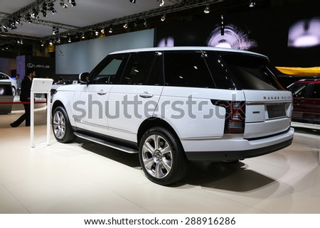 ISTANBUL, TURKEY - MAY 30, 2015: Land Rover Range Rover in Istanbul Autoshow 2015