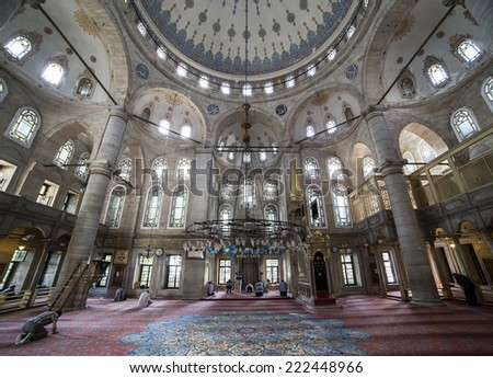 Istanbul, Turkey - May 24, 2013. People perform the ritual prayers of islam in Eyup Sultan Mosque on May 24, 2013. Eyup Sultan Mosque is one of the most important lansmark of Istanbul, Turkey.