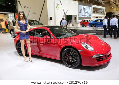 ISTANBUL, TURKEY - MAY 21, 2015: Porsche 911 Carrera GTS in Istanbul Autoshow 2015