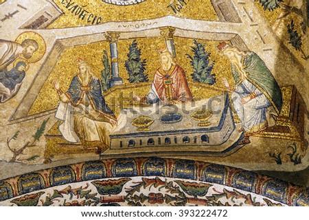 ISTANBUL, TURKEY - MAY 15, 2014 - Presentation of Mary to the temple, mosaic,  Inner Narthex, Chora Church (Kariye Museum) in Istanbul, Turkey - stock photo
