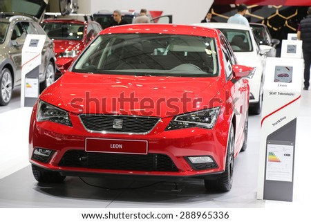ISTANBUL, TURKEY - MAY 30, 2015: SEAT Leon in Istanbul Autoshow 2015
