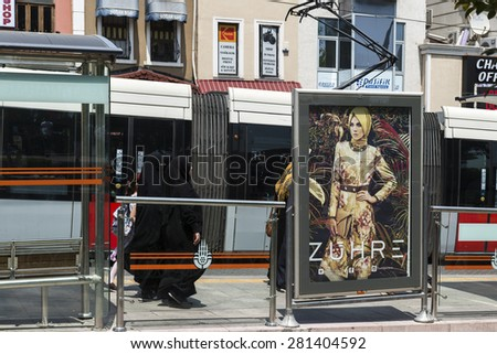 ISTANBUL, TURKEY - MAY 18 ,2015:Sultanahmet district in istanbul.Modern tram on Sultanahmet District.Istanbul is a modern city with a developed infrastructure.  - stock photo