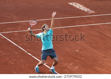 ISTANBUL, TURKEY - MAY 03, 2015: Swiss player Roger Federer in action during final match against Uruguayan player Pablo Cuevas in TEB BNP Paribas Istanbul Open 2015 - stock photo