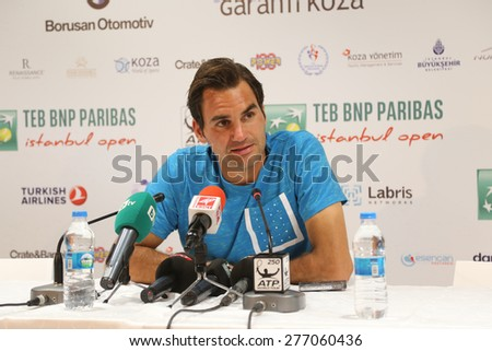 ISTANBUL, TURKEY - MAY 02, 2015: Swiss player Roger Federer in press conference after semi-final match of TEB BNP Paribas Istanbul Open 2015