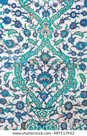 ISTANBUL, TURKEY - MAY 20, 2016: Turkish tiles in Topkapi Palace on May 20, 2016 in Istanbul, Turkey. Topkapi Palace was the primary residence of the Ottoman sultans for approximately 400 years