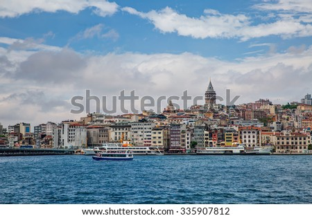ISTANBUL, TURKEY - MAY 05, 2014: View of Galata Tower in Istanbul, Turkey. The Galata Tower is the greatest monument of Middle Ages.