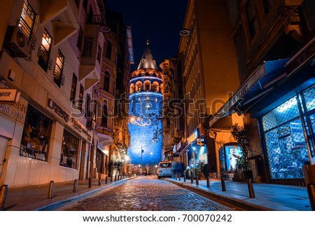 ISTANBUL, TURKEY - MAY 2, 2017: View of the Galata Tower in the historic district in Istanbul at night