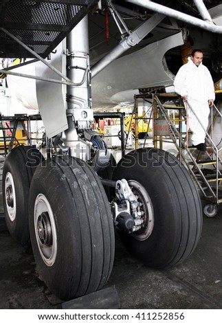 Istanbul,Turkey - November 12,2007 : Airplane Maintenance