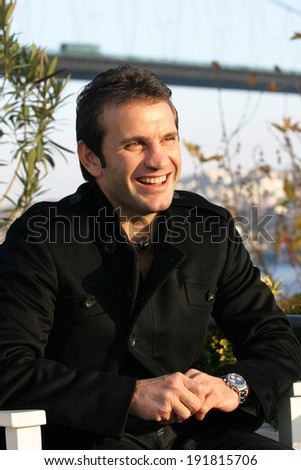 ISTANBUL, TURKEY - NOVEMBER 14: Famous Turkish former football player and manager Okan Buruk on November 14, 2007 in Istanbul, Turkey. He also won 56 caps with the Turkey national football team. - stock photo