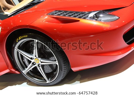 ISTANBUL, TURKEY - NOVEMBER 07: Ferrari 458 Italia at 13th International Auto Show on November 07, 2010 in Istanbul, Turkey. - stock photo