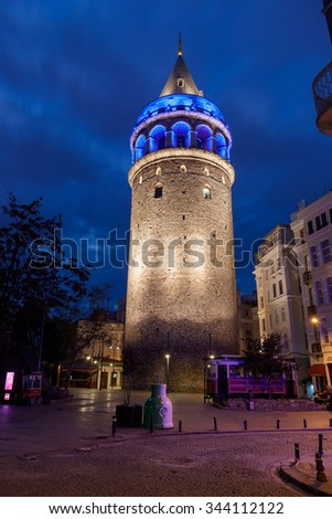 ISTANBUL, TURKEY - NOVEMBER 17, 2015: Galata tower - stock photo