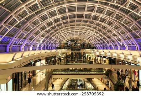 ISTANBUL, TURKEY - NOVEMBER 4: Istinye Park shopping mall on November 4, 2010 in Istanbul, Turkey. Istinye Park has a gross area of 242,000 m2. - stock photo