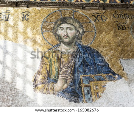 ISTANBUL, TURKEY - NOVEMBER 27: Jesus Christ, a Byzantine mosaic in the interior of Hagia Sophia, on November 27, 2013 in Istanbul.  - stock photo