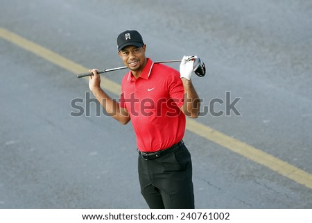 ISTANBUL, TURKEY - NOVEMBER 05: The portrait of famous American golfer Tiger Woods in Istanbul on November 05, 2013 in Istanbul, Turkey. - stock photo