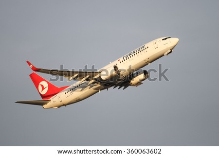 ISTANBUL, TURKEY - NOVEMBER 21, 2015: Turkish Airlines Boeing 737-8F2 (CN 35740/2673) takes off from Istanbul Ataturk Airport. THY is the flag carrier of Turkey with 299 fleet size and 280 destination - stock photo