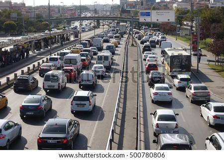 ISTANBUL, TURKEY - OCTOBER 14,2016:Bahcelievler district in istanbul.Traffic jam at E-5 Highway in Istanbul European Side on OCTOBER 14,2016 in Istanbul, Turkey