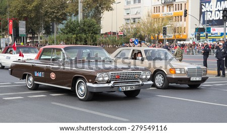 ISTANBUL, TURKEY - OCTOBER 29, 2014: Classic cars in Vatan Avenue during 29 October Republic Day celebration of Turkey