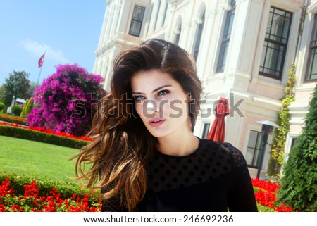 ISTANBUL, TURKEY - OCTOBER 6: Famous Brazilian top model Isabeli Fontana portrait on October 6, 2011 in Istanbul, Turkey. Isabeli Fontana was born in Curitiba, Brazil, from a family of Italian origin. - stock photo