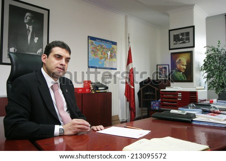 ISTANBUL, TURKEY - OCTOBER 24: Famous Turkish politician and businessman Umut Oran portrait on October 24, 2006, Istanbul, Turkey. Umut Oran is member of Republican People's Party (Turkish: CHP) - stock photo