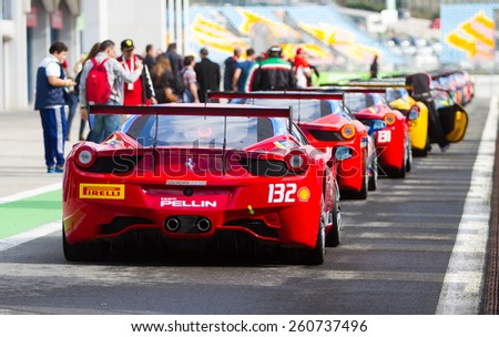 ISTANBUL, TURKEY - OCTOBER 25, 2014: Ferrari 458 Challenge during Ferrari Racing Days in Istanbul Park Racing Circuit - stock photo