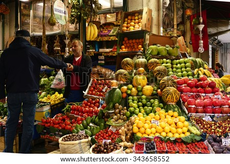 ISTANBUL,TURKEY, OCTOBER 02, 2015:Fruit and vegetable store in Beyoglu  District - stock photo