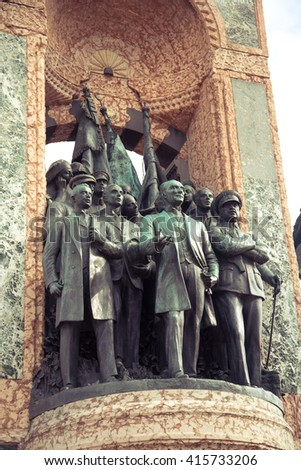 ISTANBUL,TURKEY - OCTOBER 6, 2014: Independence Monument commemorating Kemal Ataturk and the founding of the Turkish Republic (1923) Taksim Square in Istanbul Turkey