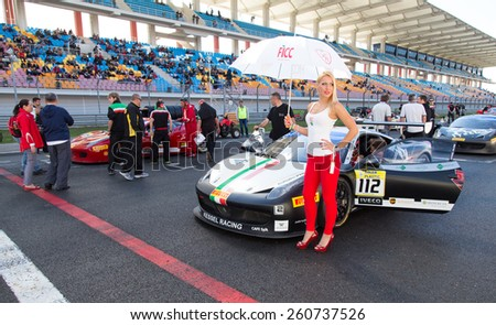 ISTANBUL, TURKEY - OCTOBER 25, 2014: Kessel Racing Team driver Rick Lovat in start line during Ferrari Racing Days in Istanbul Park Racing Circuit - stock photo