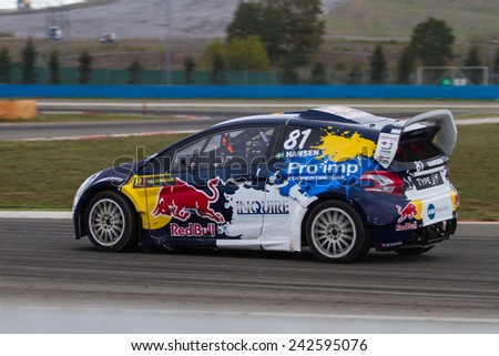 ISTANBUL, TURKEY - OCTOBER 11, 2014: Kevin Hansen drives RX Lites in FIA World Rallycross Championship. - stock photo
