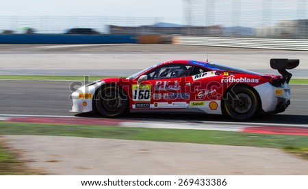 ISTANBUL, TURKEY - OCTOBER 25, 2014: Manuela Gostner drives Ferrari 458 Challenge EVO of Ineco MP Racing Team during Ferrari Racing Days in Istanbul Park Racing Circuit