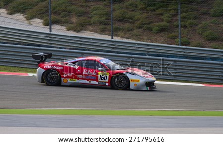 ISTANBUL, TURKEY - OCTOBER 26, 2014: Manuela Gostner drives Ferrari 458 Challenge EVO of Ineco MP Racing Team during Ferrari Racing Days in Istanbul Park Racing Circuit - stock photo