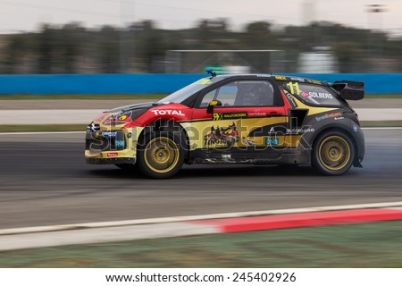 ISTANBUL, TURKEY - OCTOBER 12, 2014: Petter Solberg drives Citroen DS3 of Petter Solberg World RX Team in FIA World Rallycross Championship. - stock photo