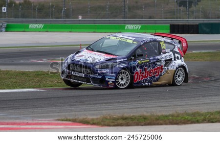 ISTANBUL, TURKEY - OCTOBER 12, 2014: Reinis Nitiss drives Ford Fiesta ST of Olsbergs MSE Team in FIA World Rallycross Championship. - stock photo